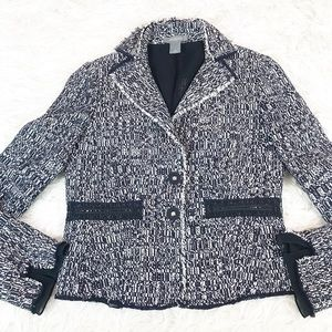 Ann Taylor Blue White Tweed Textured Blazer